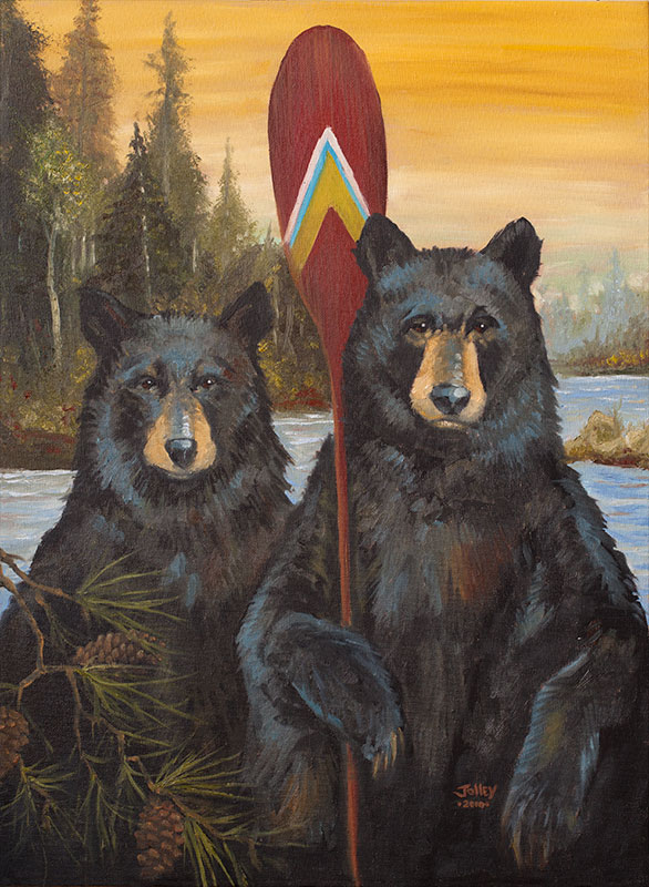 Parody of the painting america gothic with bears.