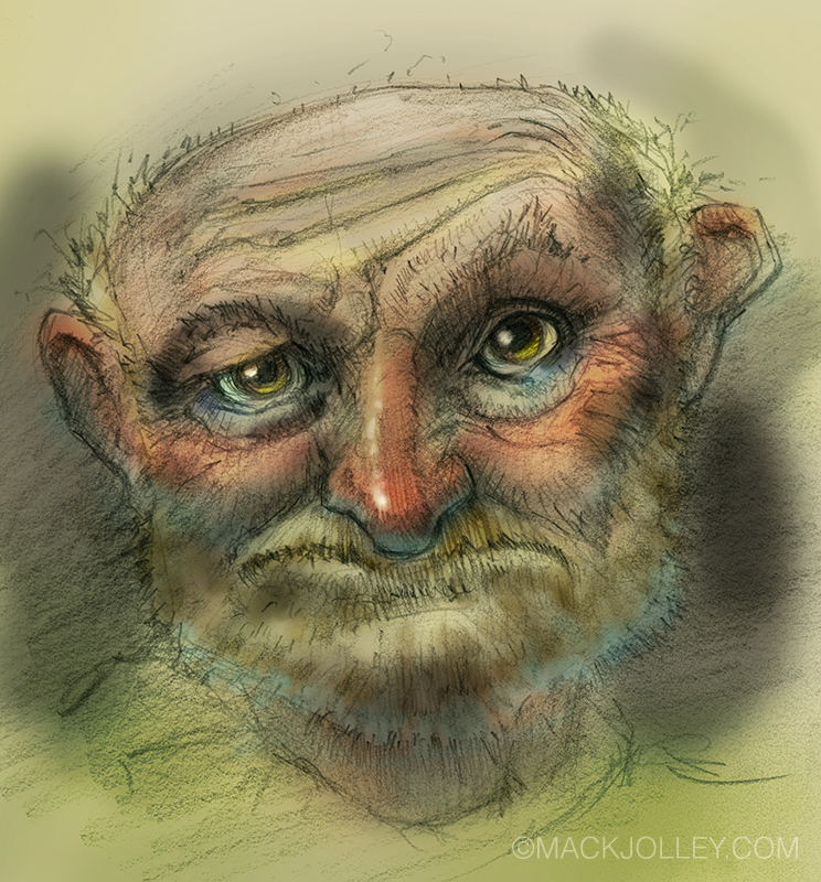 Pencil sketch colored in Photoshop.
