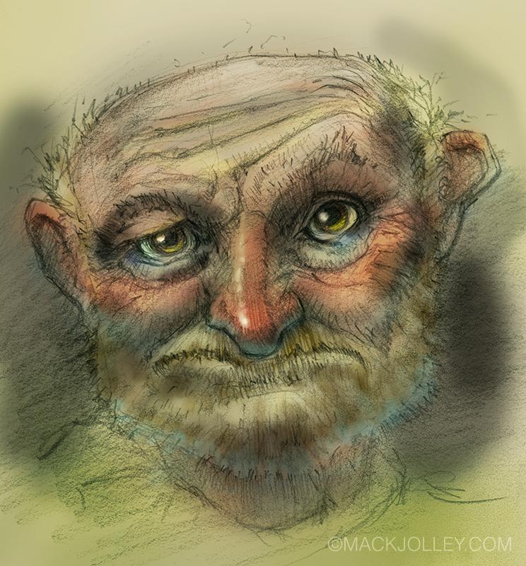 Pencil sketch colored in Photoshop.